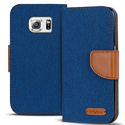 Conie Textil Hülle kompatibel mit Samsung Galaxy S6, Booklet Cover Blaue Handytasche Klapphülle Etui mit Kartenfächer