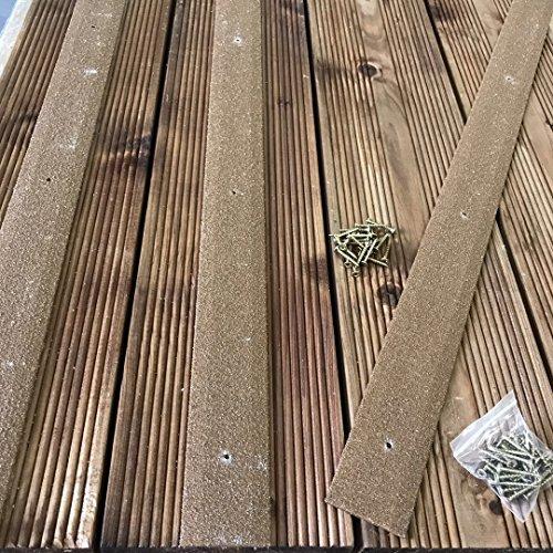 Lot de 20 bandes de terrasse en bois antidérapante pour terrasse Bande 50 mm x 600 mm Marron Vert Beige Noir Gris Jaune, marron