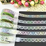 Allbusky Decorative Glitter Lace Washi Tape Colorful Sticky Adhesive Masking Tape DIY Craft Decorations Scrapbooking Decorating Stickers Random Pattern Set of 5 (Colorful Glitter 1)