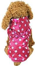 mioim Wasserdicht Regenjacke Punkt Hunde Welpen Katze Regenmantel Hundemantel Hundejacke Reflective mit Kapuze XS-XL