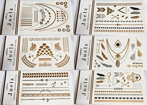2-packs-of-assorted-gold-silver-metallic-temporary-tattoos-jewellery-210mm-x-150mm-sheets