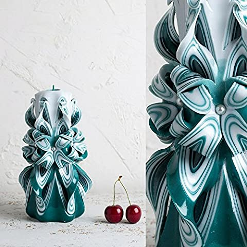 Carved Candle Turquoise and White - Gift Ideas for Birthday - Decorative Hand Carving - EveCandles
