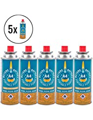 5x Butano battery® Gas cartucho 220gramos para camping cartucho eléctrica y barbacoas