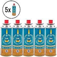 5x Gaskartusche Butan Battery® 220 Gramm für Camping Kartuschenkocher und Grills