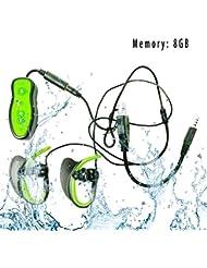 Waterproof Mp3 player 8GB Wasserdicht mini sport MP3 Player IPX8- Hören Sie Ihre Musik beim Schwimmen / Running / Training / Für alle Freizeitsport - Neues Design wasserdichte Sport-MP3-Player -Wassertiefe von 3 Metern können noch Musik hören ( MP3-LFA-296-Grün )