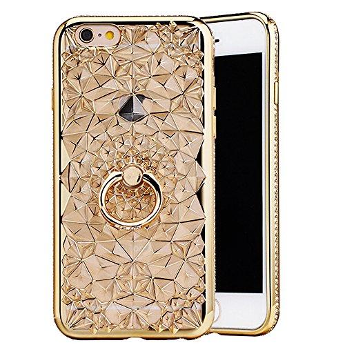 """Housse pour Apple iPhone 6/6s 4.7"""", CLTPY 3D Coloré Scintillement Placage Bordure Case, Ultra Léger Mince Hull de Protection Absorption des Choques pour iPhone 6,iPhone 6s + 1x Stylet - Gold Or avec Anneau"""