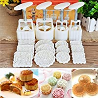 KING DO WAY Mooncake DIY Mold Hand Pressure Mould Cookie Cutter Baking 12 Stamps Tool Pastry Square Fower Homemade