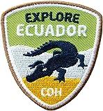 2er-Pack, Stick-Abzeichen 55 x 60 mm / Explore Ecuador – Entdecke Ecuador / für Outdoor Trekking Reise durch Südamerika / hochwertig gestickte Applikation mit Krokodil / Aufnäher Aufbügler Flicken Bügelbild Patch für Kleidung Tasche Rucksack