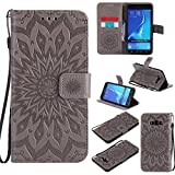 Phone Cases Covers, Für Samsung Galaxy J7 2016 Fall, Sun Blume Druck Design PU-Leder Flip Wallet Lanyard Schutzhülle mit Kartensteckplatz/Ständer für Samsung Galaxy J7 2016 J710 (Color : Grau)