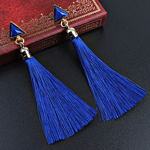 Bazhahei Collar Tassel Earrings Red/Blue/White/Black Pendientes de Borla de Cuerda éTnica de las Mujer Bohemias Bu