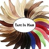 Tape In - On Hair Extensions - # DARKGREY/DUNKELGRAU - 50cm - 10 Tressen je 4cm Breit/2,5g - 100% Remy Echthaar Haarverlängerung/Extention mit Klebeband Tressen by NOVON Hair Extentions