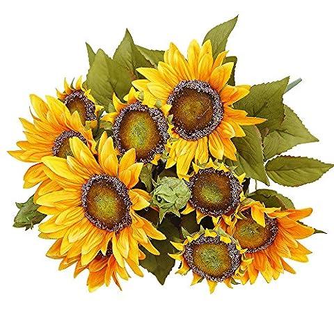 Pingenaneer Brautstrauß Künstlicher Sonnenblumen für Valentinstag Geburtstag Geschenk Weihnachten Hochzeit Wohnung Decor (Essbare Arrangements Weihnachten)