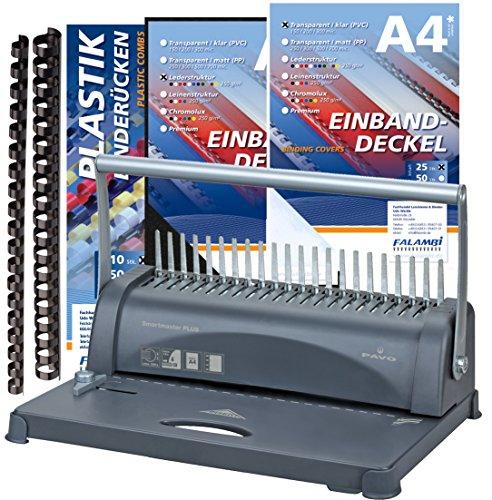 Bindegerät inkl. Starterset 100 Teile, stanzt bis 12 Blatt / bindet bis 350 Blatt