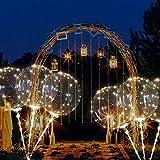TAOtTAO LED-Leuchtlaternenballon mit Röhrenglühballon Wiederverwendbare leuchtende geführte Ballon-transparente runde Blasen-Dekorations-Party-Hochzeit (B, 3 pcs)