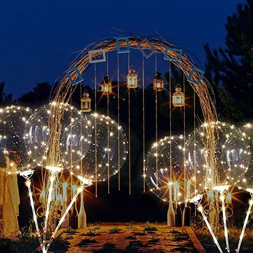 TAOtTAO LED-Leuchtlaternenballon mit Röhrenglühballon Wiederverwendbare leuchtende geführte Ballon-transparente runde Blasen-Dekorations-Party-Hochzeit (B, 3 pcs) -