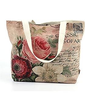 Wewod Handtaschen Damen Canvas Shopper Tasche Groß Henkeltasche Lässig Tote Tasche Blumen Umhängetasche Trendy