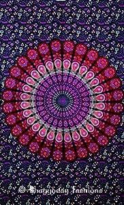 Indian floral tapisserie murale Motif indien Hippie de croix Motif Bohemian Décoration murale Indian Couvre-lit, Style bohémien Mandala, dortoir Decor Art Décoration murale, 2, 54 x 86 Bhagyoday