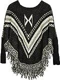 styleBREAKER Feinstrick Poncho mit Azteken Muster, Fransen und Ärmeln, Rundhals, Damen 08010032, Farbe:Schwarz-Weiß