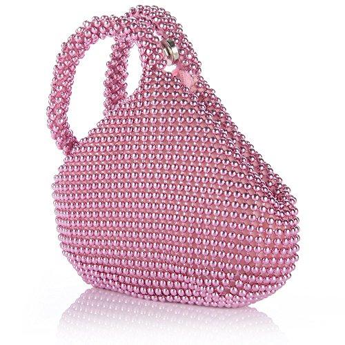 ERGEOB Damen Clutch Kreatives Design Diamant/Aluminium Handtasche Abendtasche Dreiflächner Partytasche Aluminium Pink