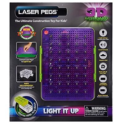 Laser Pegs 3D Liteboard Light It Up Storage Bin Display Board Sound Activated 5+