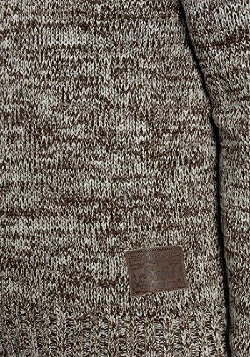 SOLID Philario Herren Strickpullover Troyer aus 100% Baumwolle Meliert Coffee Bean (5973)
