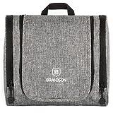 Brandson Kulturbeutel,Geräumige Kulturtasche zum Aufhängen, Reise-Necessaire,Tasche für Hygieneartikel,26x12x22cm Grau