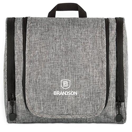 BRANDSON Kulturbeutel, geräumige Waschtasche mit vielen Fächern, Reise Kulturtasche zum Aufhängen, Reise-Necessaire Tasche für Hygieneartikel, Grau, 26x12x22cm