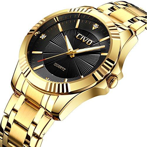 CIVO Herren Golden Uhren mit Edelstahlband Luxus Geschäft Wasserdicht Armbanduhr zum Männer Elegant Beiläufig Kleid Einfaches Design Analoge Quarzuhren mit Schwarzes Zifferblatt Herren-luxus-uhren Gold