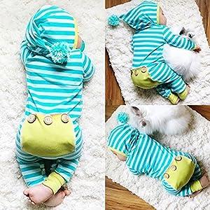 Zhouba neonato bambino cotone misto poliestere a maniche lunghe a righe Fluffy Ball con cappuccio pagliaccetto tuta Sky Blue 6-12M