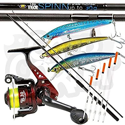Lineaeffe SL30 1BB Reel & Vigor 1.8m / 6ft Spin Float Fishing Rod + 3 x Lures & 5 x Crystal Waggler Floats by Lineaeffe