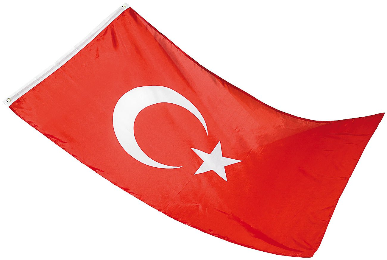 PEARL Flagge: Länderflagge Türkei 150 x 90 cm aus reißfestem Nylon (Fussballfahnen)