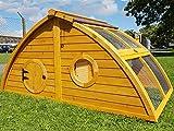 Hühnerstall Hühnerhaus Cocoon Hühnerstall sehr gross für 6 Vögel oder 10 Wachteln, abnehmbares Dach für einfachere Reinigung, mit Lüftungslöchern, mit stabilem Nistkasten, grosser Lebensraum und 210cm Lang inklusive Nistkasten - mehr als 130cm hoch - 6