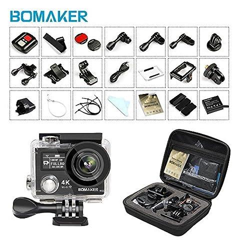 4K Action Camera, Bopower 60fps WIFI Sport Anti-Shake Waterproof Camera with 2.4G RF Remote, Full HD 2.0