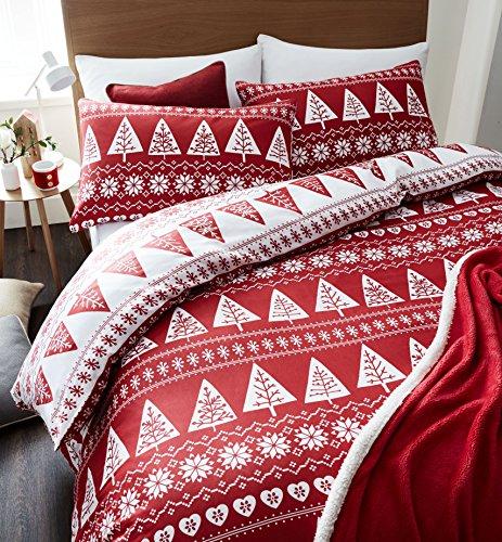 catherine-lansfield-set-copripiumino-motivo-alberi-stile-nordico-colore-rosso-letto-matrimoniale