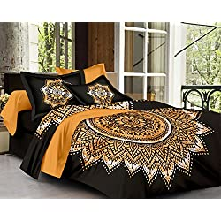 SheetKart Traditional Mandala 144 TC Cotton Double Bedsheet with 2 Pillow Covers - Floral, King Size, Superior Black Tie Dye