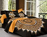 #10: SheetKart Traditional Mandala 144 TC Cotton Double Bedsheet with 2 Pillow Covers - Floral, Superior Black Tie Dye