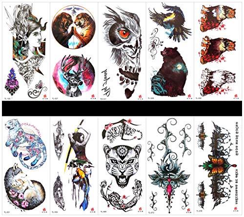 PAMO 10pcs Tattoo Dog Tattoo Sticker in Paketen, einschließlich Leopard mit Blume, schöne Hunde, Wolf, Tiger, Frauen mit Eule, Dame, Hirsch mit Brille, Rose, Frauen, Kranich usw.
