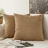 MIULEE Confezione di 2 Velluto Soft Solid Decorativa Piazza Gettare Federe Set Cuscino per Divano...