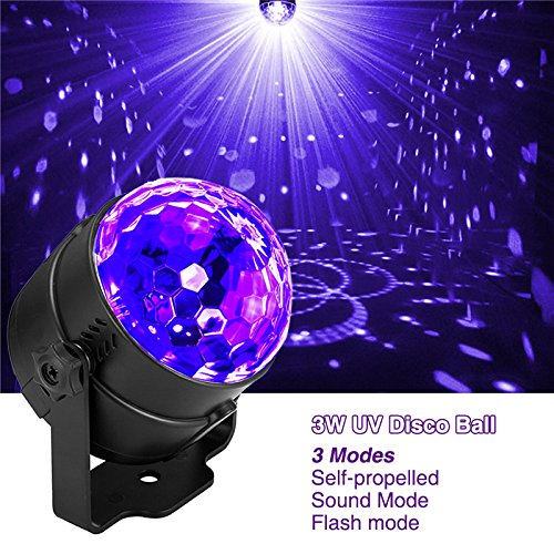 3W UV Magic ball UV Purple stage lights UV violet light Plastic shell material Self-propelled/voice-activated/flashing mode 110-240V 50-60hz US...