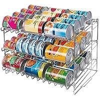 mDesign Estante de cocina para latas y alimentos – Práctico portalatas con 3 estantes – Organizador de latas apilable para la cocina fabricado en alambre metálico y plástico resistente – plateado