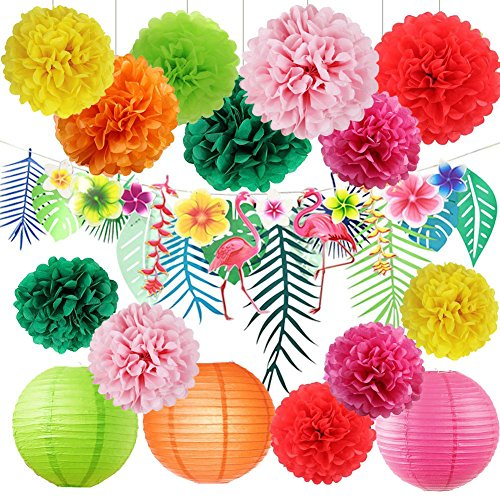 Hawaiian Luau Party Dekorationen Tropical Tiki HIBISKUS Blumen und Flamingos Banner Große Künstliche Tropical, bleibt Banner Girlande Seidenpapier Pom Poms Blumen für Sommer Party Supplies - Papier Hibiskus-blumen