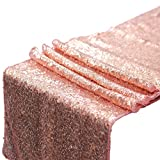 Keriber Rose Gold Sequin Table Runner 12 by 108 Inches Glitter Table Runner with Rose Gold Confetti Party Supplies Fabric Decorations for Wedding Birthday Baby Shower