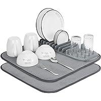 Jonno-2 tapis de séchage en microfibre +1 egouttoir a vaisselle en silicone- Pour comptoir de cuisine,lavable et facile…