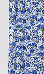 Dekor World Floral Printed Blue Cotton Fabric (Pack of 20Mtrs)