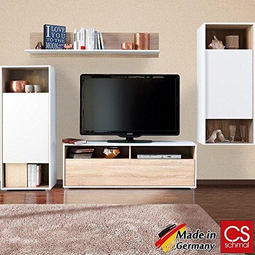 Wohnwand Anbauwand Schrankwand Wohnzimmerschrank Mediawand modern CS Schmal Made in Germany - Farbauswahl Eiche/Weiß