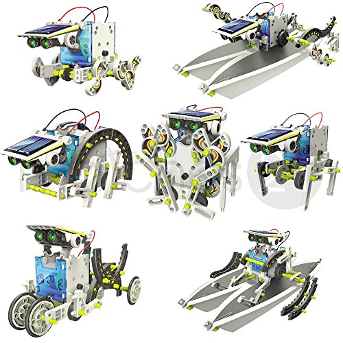 matches21 Solar Roboter mit Motor Bausatz 14in1 mit zwei Schwierigkeitsstufen (je 7 Modelle) Bastelset für Kinder ab 12 Jahren
