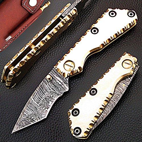 faite à la main 17 cm Awesome Hi Tech Couteau de poche pliant des véritables Acier de Damas avec poignée de laiton massif, moins de 7,6 cm Legal de lame pour transporter : (Bdm-169)