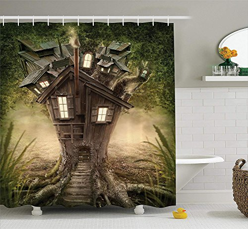 Mystic House Decor Collection, Fantasy Tree House in Mysterious Forest with Lights Windows Smoke Chimney, Polyester Fabric Bathroom Shower Curtain, 60x72 inches Extra Long, Green Beige -