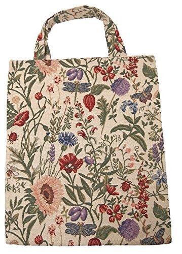 Stofftasche Einkaufstasche Motiv Blume hell groß 40 x 32 cm im Gobelin Stil Royaltex Signare Bag Shopper Tasche Beutel Fa. Bowatex -