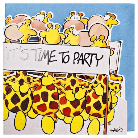 Birthday Card Giraffe Dance Time to Party (Party Card)